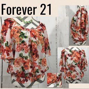 ❤️ NEW! ✨Forever 21 ✨ Semi Sheer Floral Dress